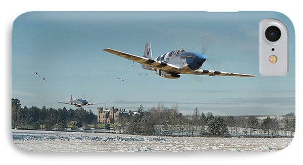 IPhone Case featuring the digital art P51 Mustang - Bodney Blue Noses by Pat Speirs