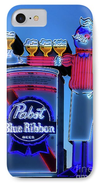 Pabst Blue Ribbon Neon Sign Fremont Street IPhone Case by Aloha Art