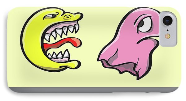 Pac Man And Ghost Illustration IPhone Case