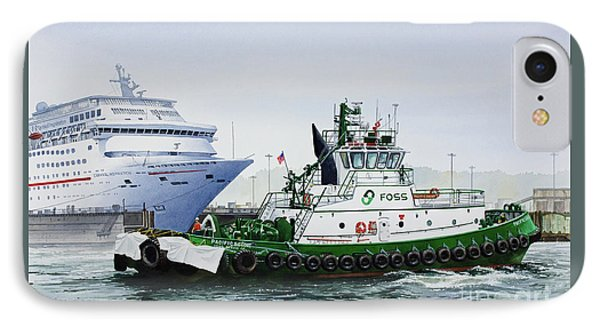 IPhone Case featuring the painting Pacific Escort Cruise Ship Assist by James Williamson
