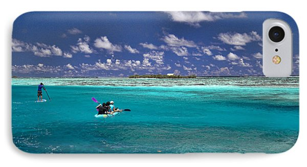 Paddling In Moorea IPhone Case