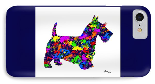 Paint Splatter Scottish Terrier IPhone Case by Gregory Murray
