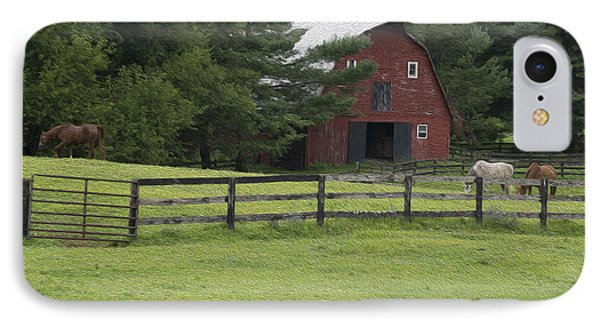 Painted Barn With Horses IPhone Case