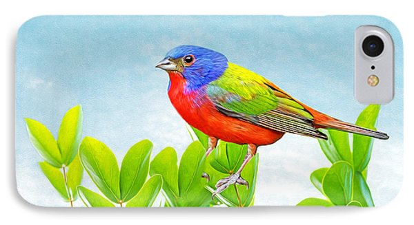 Bunting iPhone 7 Case - Painted Bunting by Laura D Young