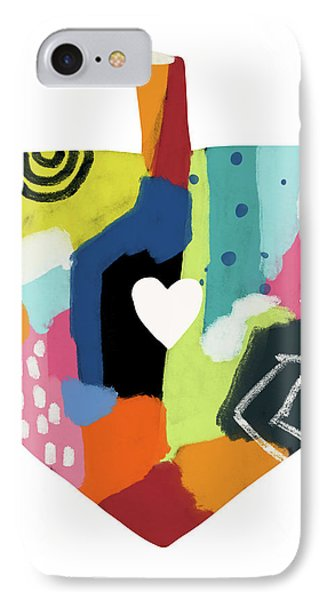 IPhone Case featuring the mixed media Painted Dreidel With Heart- Art By Linda Woods by Linda Woods