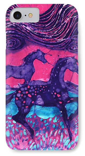Painted Horses Below The Wind Phone Case by Carol  Law Conklin