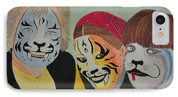 IPhone Case featuring the tapestry - textile Painted Ladies by Jo Baner