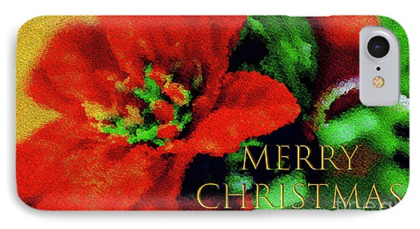 Painted Poinsettia Merry Christmas IPhone Case by Sandy Moulder