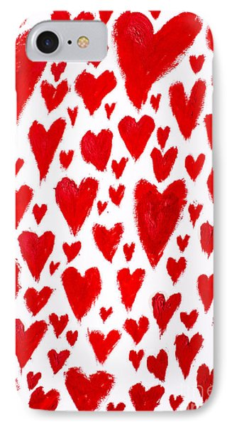 Painted Red Hearts IPhone Case