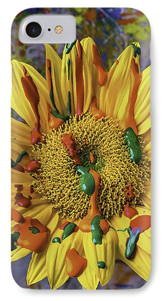 Painted Sunflower IPhone Case by Garry Gay