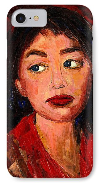 Painting Of A Dark Haired Girl Commissioned Art Phone Case by Carole Spandau