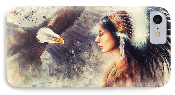 Painting Of A Young Indian Woman Wearing A Gorgeous Feather Headdress. With An Image  Eagle Spirits  IPhone Case by Jozef Klopacka