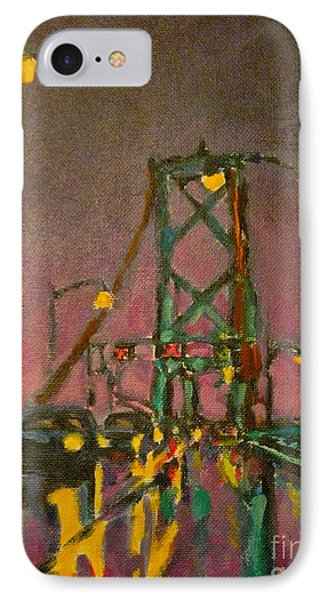 Painting Of Traffic On Wet Bridge Deck At Night IPhone Case by John Malone