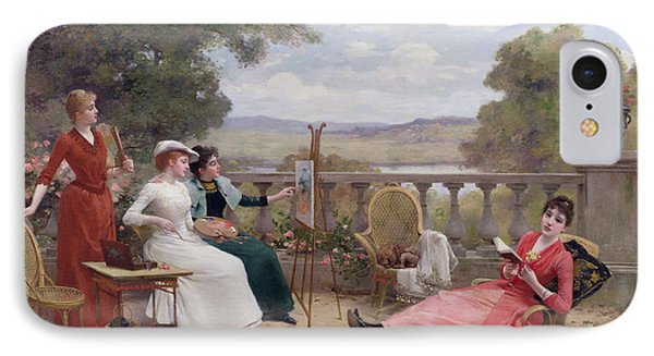 Painting On The Terrace Phone Case by Jules Frederic Ballavoine