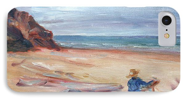 Painting The Coast - Scenic Landscape With Figure Phone Case by Quin Sweetman
