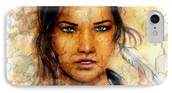 Painting Young Indian Woman Wearing A Feather Eye Cont Crackle Background. IPhone Case by Jozef Klopacka