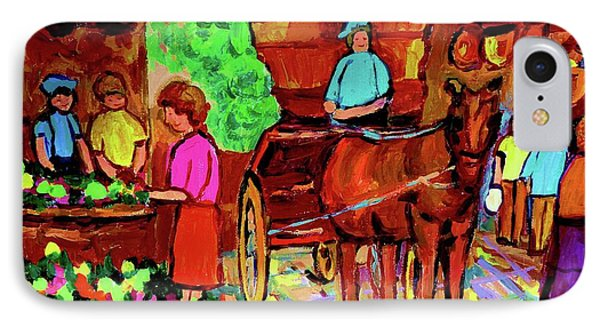 Paintings Of Montreal Streets Old Montreal With Flower Cart And Caleche By Artist Carole Spandau Phone Case by Carole Spandau