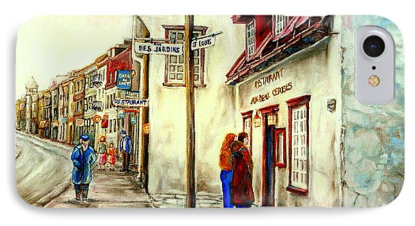 Paintings Of Quebec Landmarks Aux Anciens Canadiens Restaurant Rainy Morning October City Scene  IPhone Case by Carole Spandau