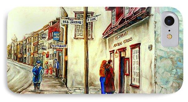 Paintings Of Quebec Landmarks Aux Anciens Canadiens Restaurant Rainy Morning October City Scene  Phone Case by Carole Spandau