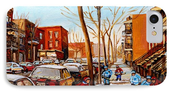 Paintings Of Verdun Streets In Winter Hockey Game Near Row Houses Montreal City Scenes IPhone Case by Carole Spandau