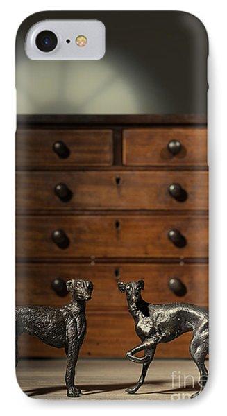 Pair Of Greyhound Dog Figures IPhone Case by Amanda Elwell