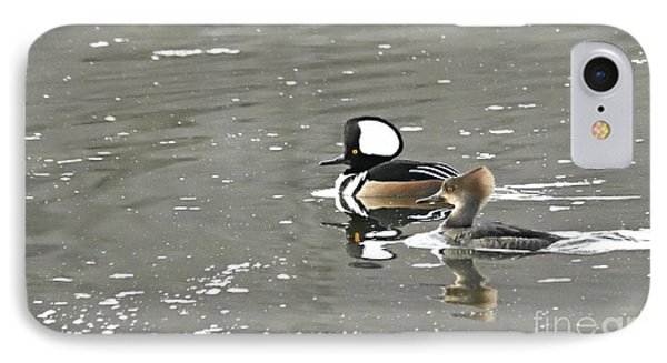 IPhone Case featuring the photograph Pair Of Hooded Mergansers by Larry Ricker