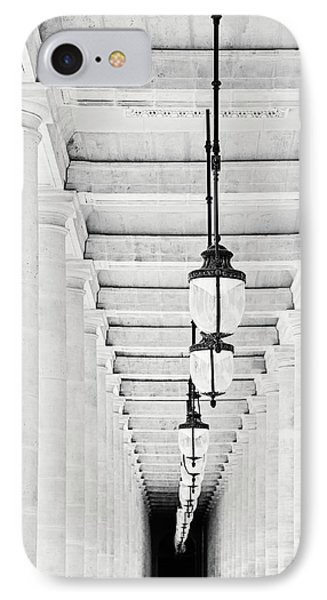 IPhone Case featuring the photograph Palais-royal Arcade Black And White - Paris, France by Melanie Alexandra Price