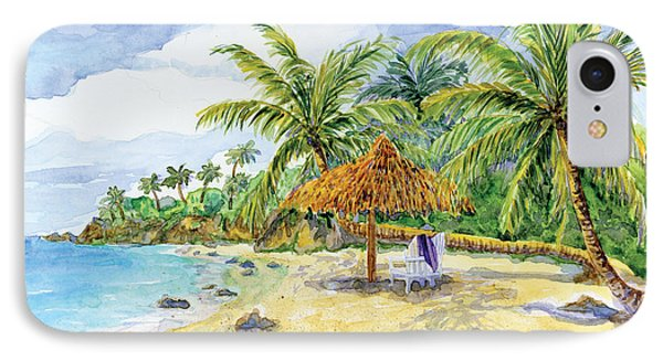 Palappa N Adirondack Chairs On A Caribbean Beach IPhone Case by Audrey Jeanne Roberts