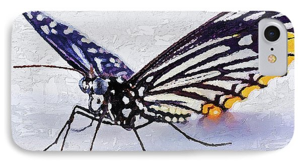 IPhone Case featuring the digital art Pallete Knife Painting Blue Butterfly by PixBreak Art
