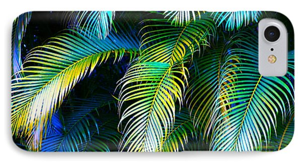 Palm Leaves In Blue IPhone Case