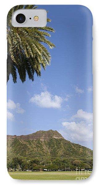 Palm Tree And Diamond Head Phone Case by Brandon Tabiolo