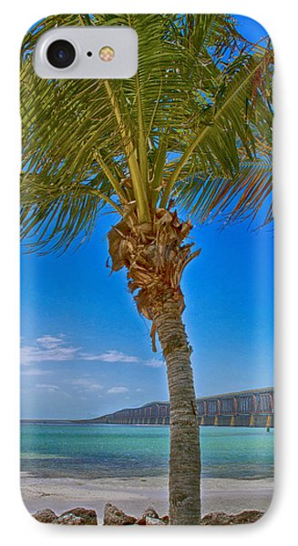 IPhone Case featuring the photograph Palm Tree Bridge And Sand by Paula Porterfield-Izzo