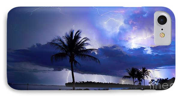 Palm Tree Nights IPhone Case by Quinn Sedam