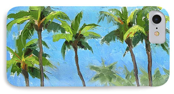 IPhone Case featuring the painting Palm Tree Plein Air Painting by Karen Whitworth