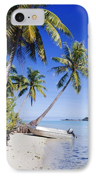 Palm Trees And Motorized Dinghy Phone Case by Jeremy Woodhouse