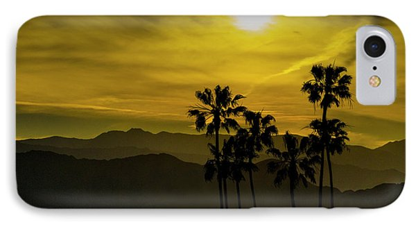 IPhone Case featuring the photograph Palm Trees At Sunset With Mountains In California by Randall Nyhof