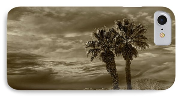 IPhone Case featuring the photograph Palm Trees By Borrego Springs In Sepia Tone by Randall Nyhof