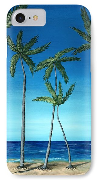 IPhone Case featuring the painting Palm Trees On Blue by Anastasiya Malakhova