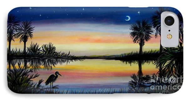 Palmetto Tree And Moon Low Country Sunset IPhone Case by Patricia L Davidson