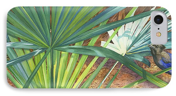 Bluejay iPhone 7 Case - Palmettos And Stellars Blue by Marguerite Chadwick-Juner