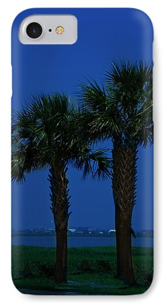 IPhone Case featuring the photograph Palms And Moon At Morse Park by Bill Barber