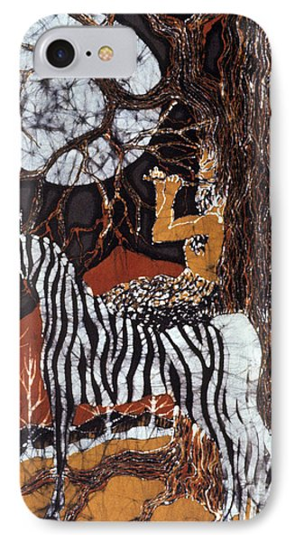 Pan Calls The Moon From Zebra Phone Case by Carol Law Conklin
