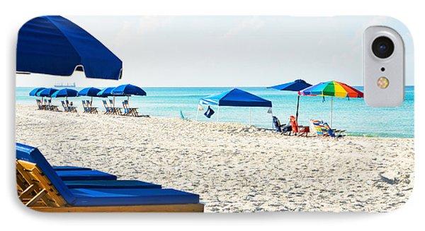 Panama City Beach Florida With Beach Chairs And Umbrellas IPhone Case by Vizual Studio