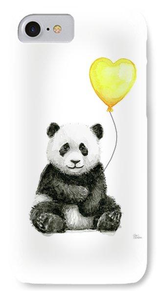 Panda Baby With Yellow Balloon IPhone Case by Olga Shvartsur