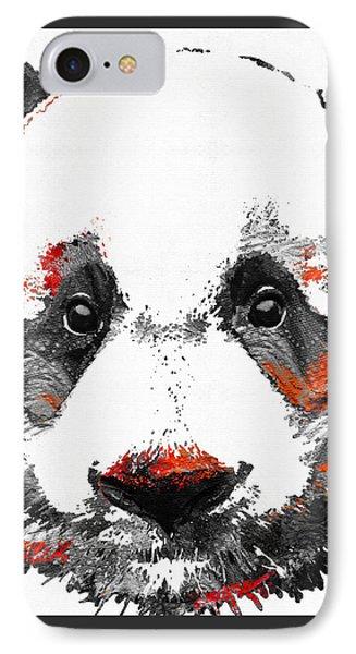 Panda Bear Art - Black White Red - By Sharon Cummings IPhone Case by Sharon Cummings