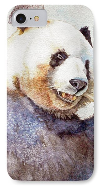 Panda Eating IPhone Case by Bonnie Rinier