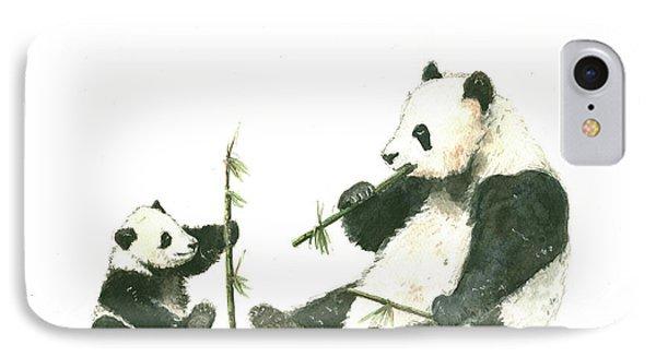 Panda Family Eating Bamboo IPhone Case by Juan Bosco