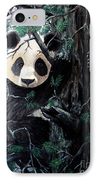 Panda In Tree IPhone Case by Nick Gustafson