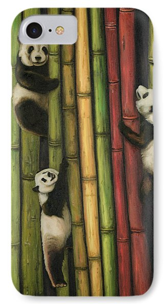 Pandas Climbing Bamboo IPhone Case by Leah Saulnier The Painting Maniac