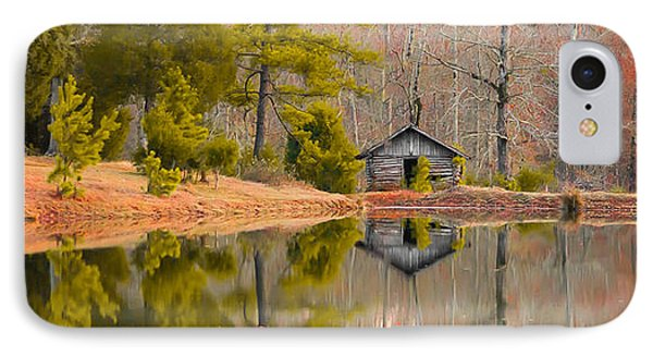 Panorama Of Cabin By The Lake IPhone Case by Shelby  Young